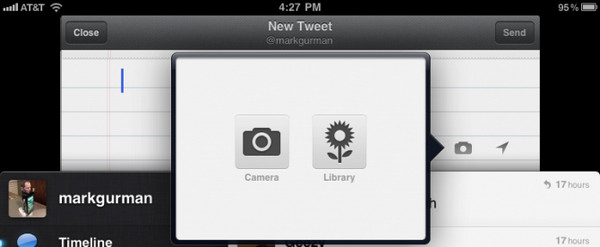 Twitter for iPad 2 camera support