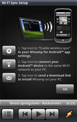 Winamp Wi-Fi desktop sync