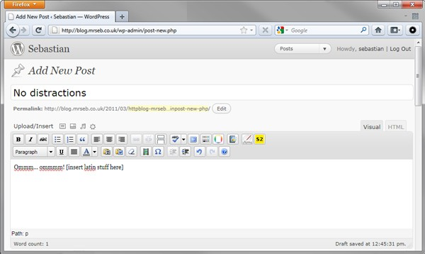 WordPress 3.2, minimal post editor (this is not a real image)