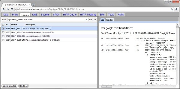 SPDY in Google Chrome