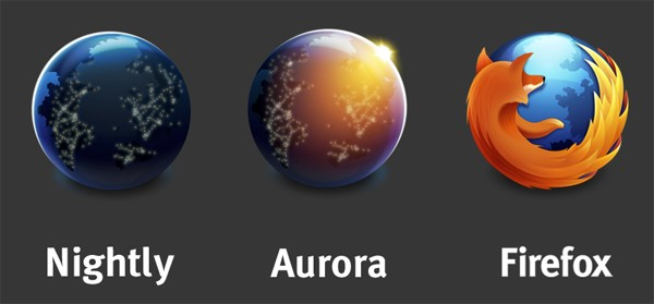 Firefox Nightly and Aurora logos
