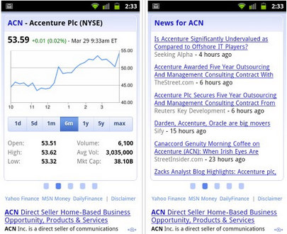Google mobile search results for stocks