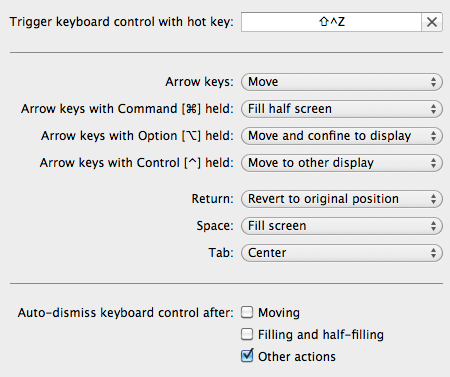Moom for Mac keyboard shortcut settings