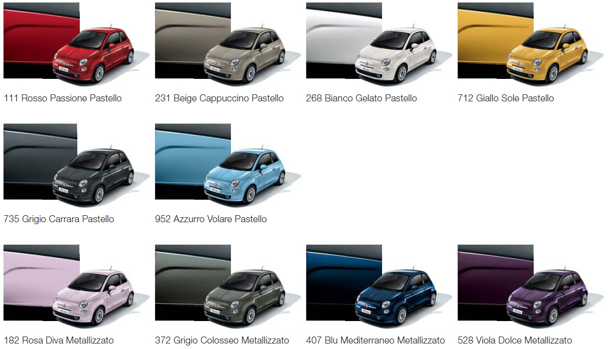 Fiat  Metallic Paint Colours