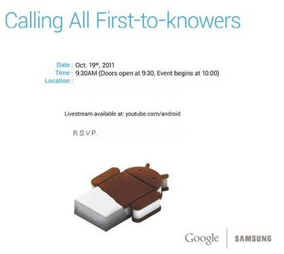 Samsung y Google confirman la fecha del evento de Ice Cream Sandwich