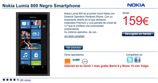 Nokia Lumia 800 ya se muestra en The Phone House con Orange y Yoigo