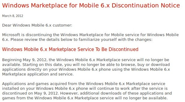 Microsoft cierra el Marketplace para Windows Mobile