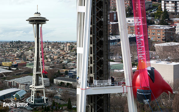 Angry Birds Space transforma la Aguja Espacial de Seattle en un monumental tirachinas