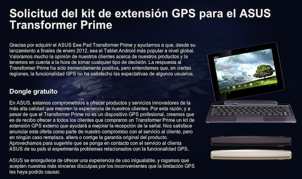 ASUS nos aclara la situacin de envo del GPS externo para el Transformer Prime