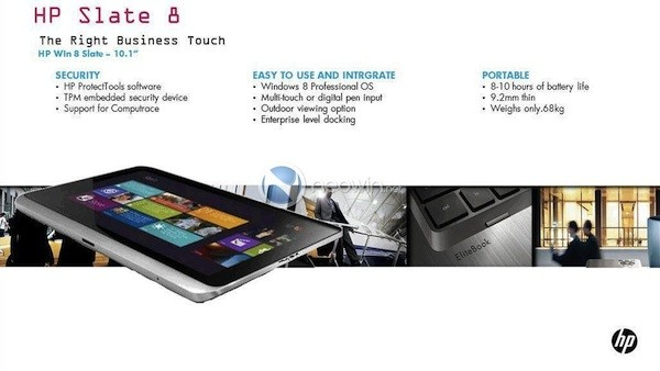 HP Slate 8, ¿una tablet empresarial con Windows 8 filtrada?