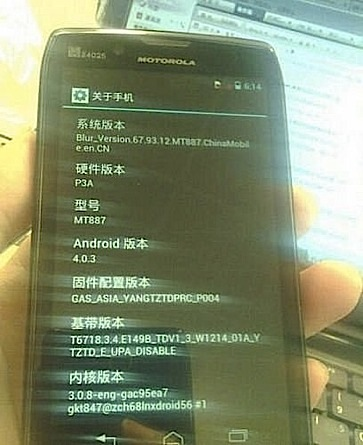 Motorola RAZR HD muestra su panel 720p con ICS ante una cmara espa