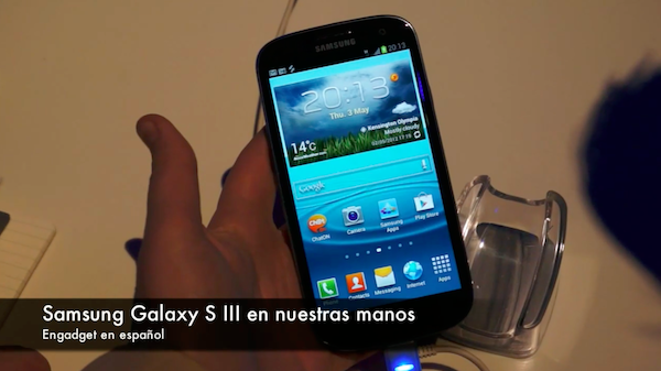samsung galaxy s III, toma de contacto en video