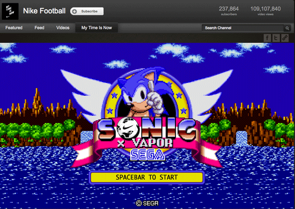 Nike ha integrado un juego de SEGA en un vídeo de YouTube