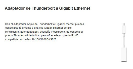 Apple lanza un adaptador de Thunderbolt a Ethernet para el MacBook Pro Retina Display
