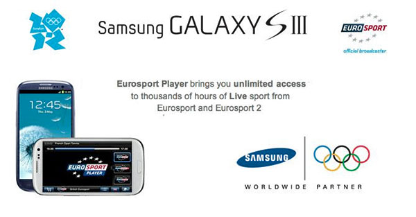 Samsung Galaxy S III ofrecer streaming gratuito de los Juegos Olmpicos mediante Eurosport