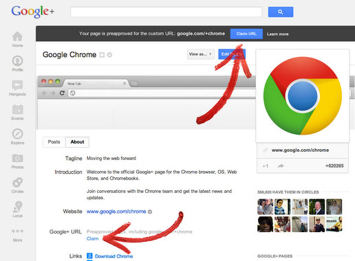 Google+ activa URL personalizados en 'miles' de pginas y perfiles adicionales