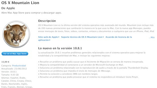 Apple publica la actualizacin 10.8.1 para OS X