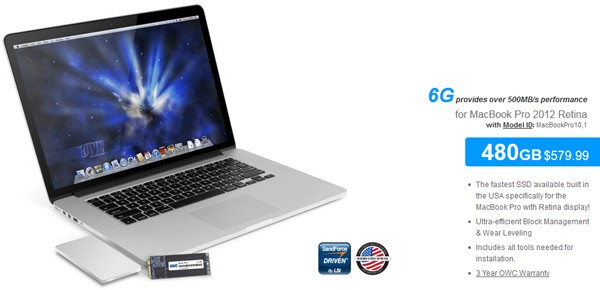 OWC lanza un kit SSD de 480 GB para el MacBook Pro Retina