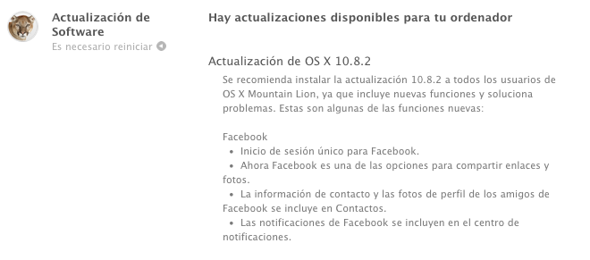 Apple OS X 10.8.2 ya disponible: Integración con Facebook, arreglos para iMessage y algo más