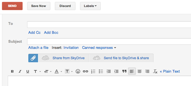 Una extensin del navegador permite adjuntos de SkyDrive en GMail
