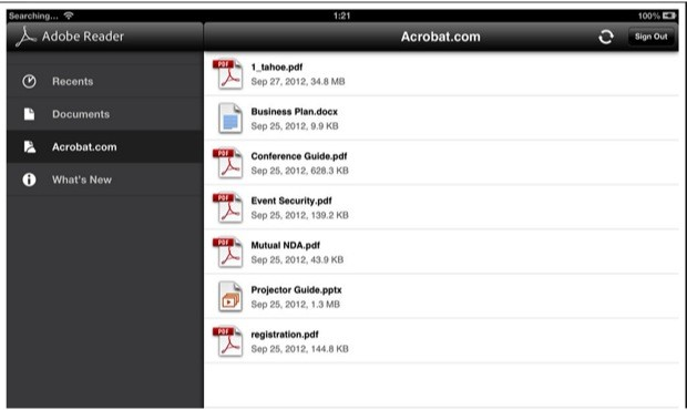 Adobe Reader para iOS y Android actualizado incorporando almacenamiento en la nube