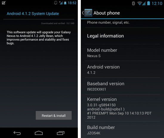 Los Galaxy Nexus y Nexus S empiezan a recibir Android 4.1.2