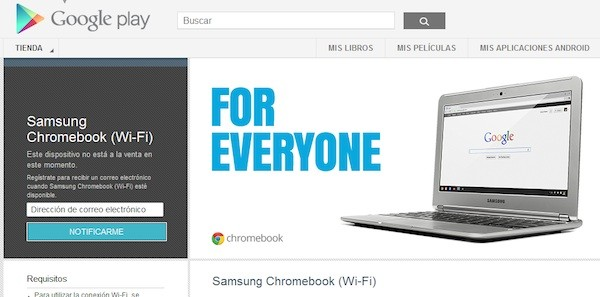 Los Chromebook de Samsung con CPU ARM A15 disponibles en la tienda Play por 250 dlares