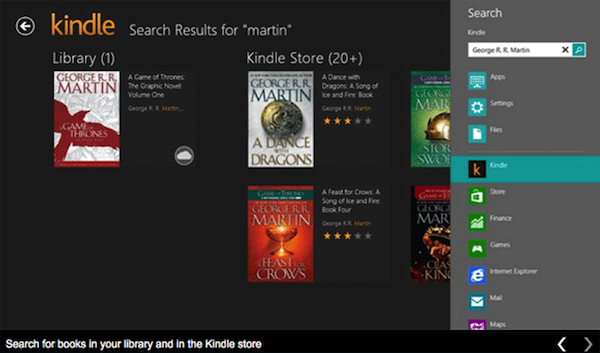 Amazon anuncia su aplicación Kindle para Windows 8