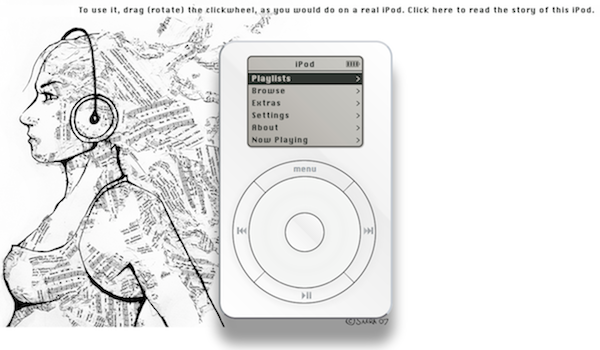Artista desarrolla un iPod original HTML5 en memoria de Steve Jobs
