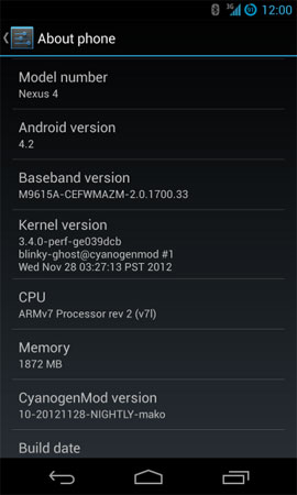 Nexus 4 recibe la inesperada visita de CyanogenMod 10.1