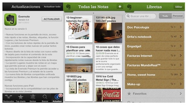 Evernote 5 ya disponible para iPad, iPhone y iPod touch