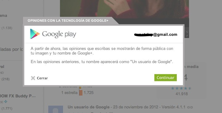 La web de Google Play publicar tus reseas de apps empleando los datos de Google+