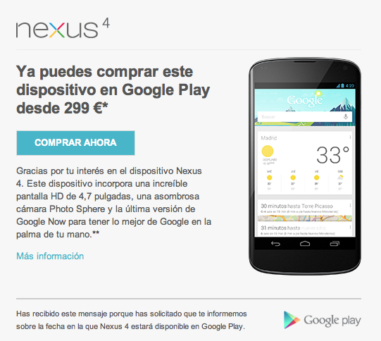 Nexus 4 sale hoy a la venta (pero se hace de rogar)