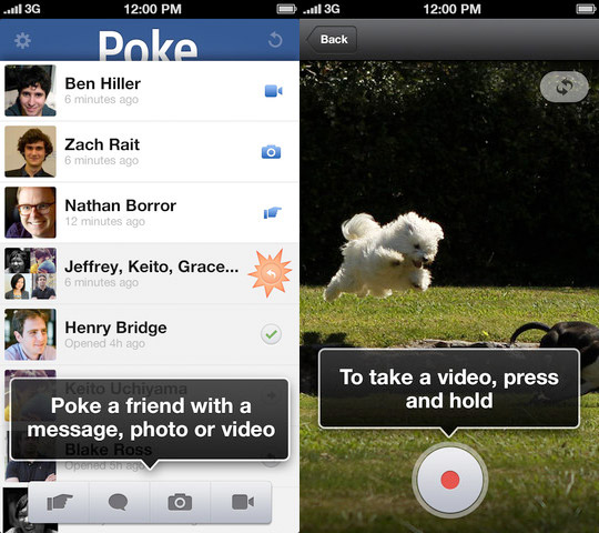 Facebook anuncia Poke para dispositivos iOS (la competencia de Snapchat)