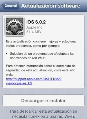 Apple lanza iOS 6.0.2 para iPhone 5 y iPad mini