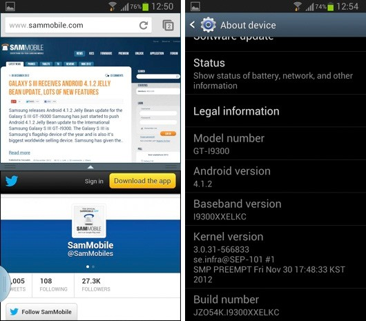 El Samsung Galaxy S III comienza a recibir su dosis de Android 4.1.2