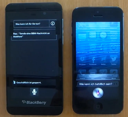 BlackBerry Z10 y iPhone 5 comparados en video