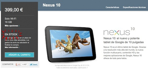 nexus 10 stock