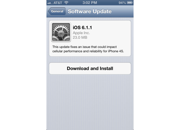 iOS 6.1.1 se deja caer por el iPhone 4S