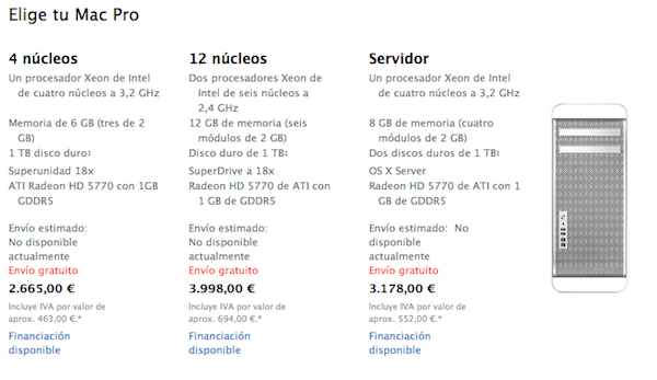Apple retira los Mac Pro de las tiendas on-line europeas