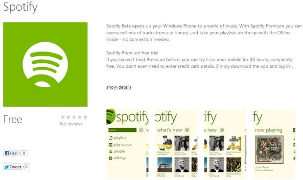 Spotify para Windows Phone 8 sale de su fase beta [Actualizada: Ya disponible]