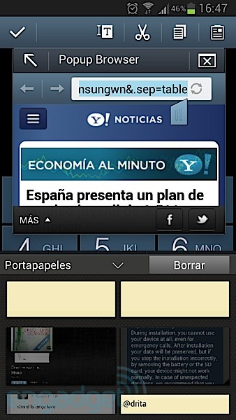 Una vulnerabilidad en el Galaxy Note II permite acceder al navegador desde el widget de noticias sin desbloquear el equipo