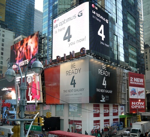 LG 'trollea' los carteles de Times Square con anuncios del Optimus G