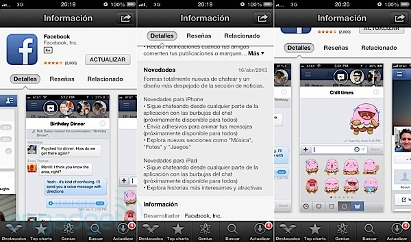 Facebook para iOS salta a la versin 6.0 para disfrutar de burbujas de chat y otras novedades