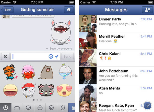 Facebook Messenger para iOS incorpora ahora stickers y ms novedades
