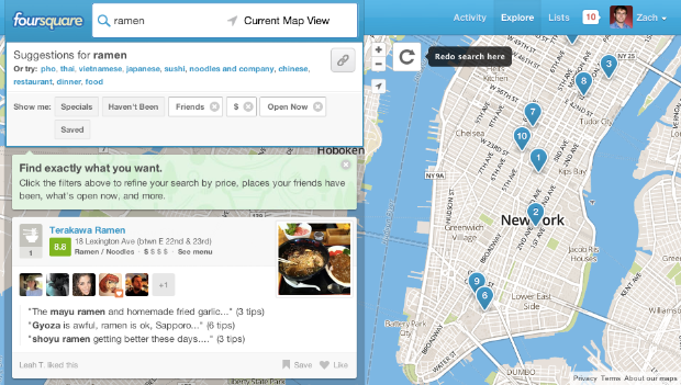 Foursquare permite ordenar las bsquedas en su web por precio, horas y check-ins