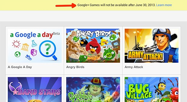 Google+ Games echarn la persiana el prximo 30 de junio