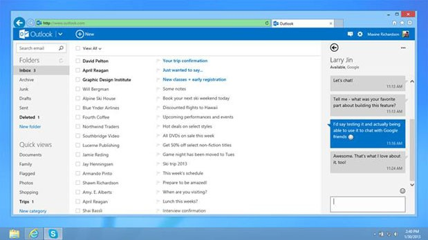 gtalk outlook skydrive