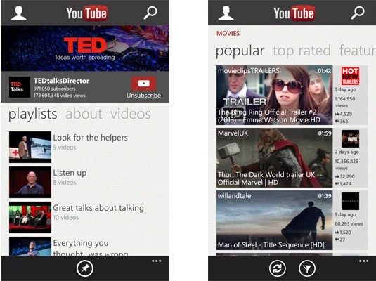 YouTube para Windows Phone 8 se actualiza de pies a cabeza (ya no es un triste acceso directo)
