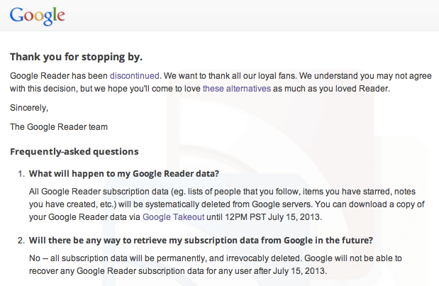 google reader datos 15 julio